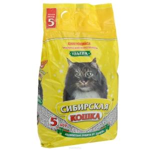 """Наполнитель для туалета """"Сибирская кошка"""" комкующийся 5л"""