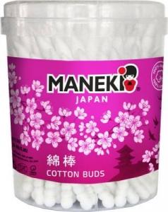"""Палочки ватные гигиенические """"Maneki"""", серия Lovely, с белым пластиковым стиком, в пластиковом стакане, 100шт./упак"""