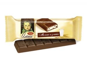 "Шоколад "" Алёнка"" с молочно-злаковой начинкой 45г"