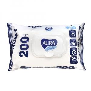 """Воажные салфетки """"Aura"""" с клапаном 200 шт."""