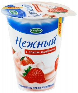 """Йогурт """"Campina Нежный"""" с соком клубники 320 г."""