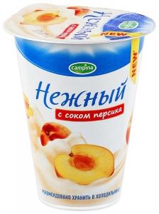"""Йогурт """"Campina Нежный"""" с соком персика 320 г."""