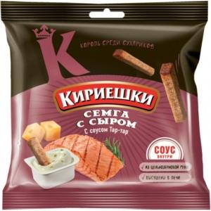 """Сухарики """"Кириешки"""" семга/сыр с соусом тар-тар 85 гр."""