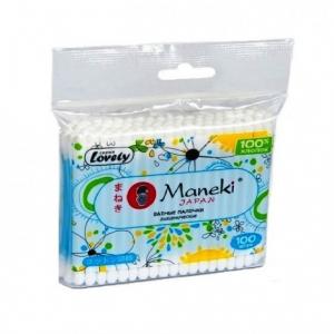 """Палочки ватные гигиенические """"Maneki"""", серия Lovely, с голубым пластиковым стиком в zip-пакете  100шт./упак"""