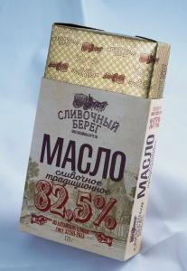 """Масло сливочное  """"Сливочный берег"""" 82,5% 170гр."""
