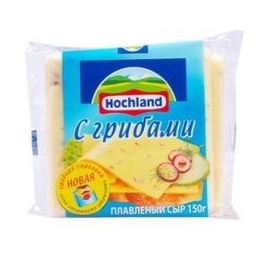 """Сыр плавленый ломтевой """"Hochland"""" Хохланд с грибами 150 г"""