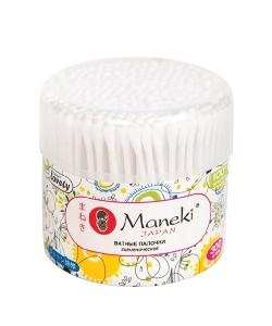 """Палочки ватные гигиенические """"Maneki"""", серия Lovely, с белым пластиковым стиком, в пластиковом стакане, 300шт./упак"""