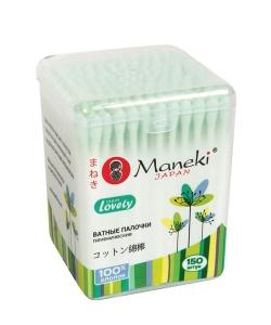 """Палочки ватные гигиенические """"Maneki"""", серия Lovely, с зеленым бумажным стиком, в пластиковой коробке, 150шт./упак"""