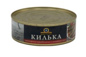 """Килька черноморская неразделанная в томатном соусе """"Акватория"""" 240 гр."""