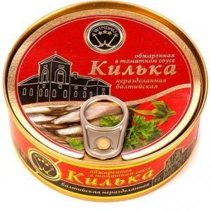 """Килька """"Windau"""" в томатном соусе балтийская неразделанная обжаренная 240 г"""