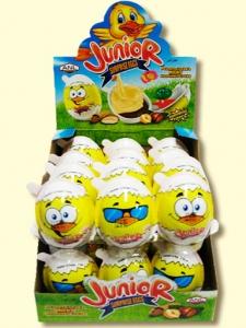 """Яйцо пластиковое """"Junior"""" с сюрпризом и шоколадом 15 гр. 1 шт."""